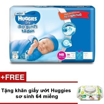 Tã dán sơ sinh Huggies NB36 mới + Tặng khăn giấy ướt Huggies sơ sinh 64 miếng