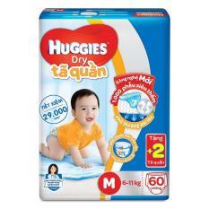 Tã quần Huggies Dry Pants Big Jumbo M60 (6-11kg) + Tặng thêm 2 miếng/gói