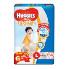 Tã quần Huggies Dry Pants L54 (8 - 13kg) + Tặng 6 miếng /gói