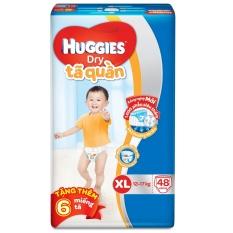Tã quần Huggies Dry Pants XL48 (12 – 17kg) + Tặng 6 miếng /gói