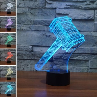Touch Switch 7 Colors Changing Night light 3D VisualLEDLamp(Hammer� - intl
