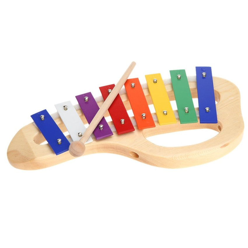 Wooden Rainbow Xylophone Sticks ~ Wood pine xylophone note mm colorful aluminum plate
