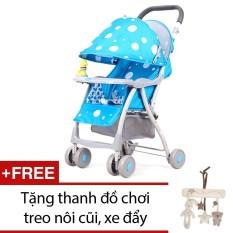 Xe nôi đẩy trẻ em Baobaohao 722C (Xanh dương) + Tặng thanh đồ chơi treo nôi cũi, xe đẩy