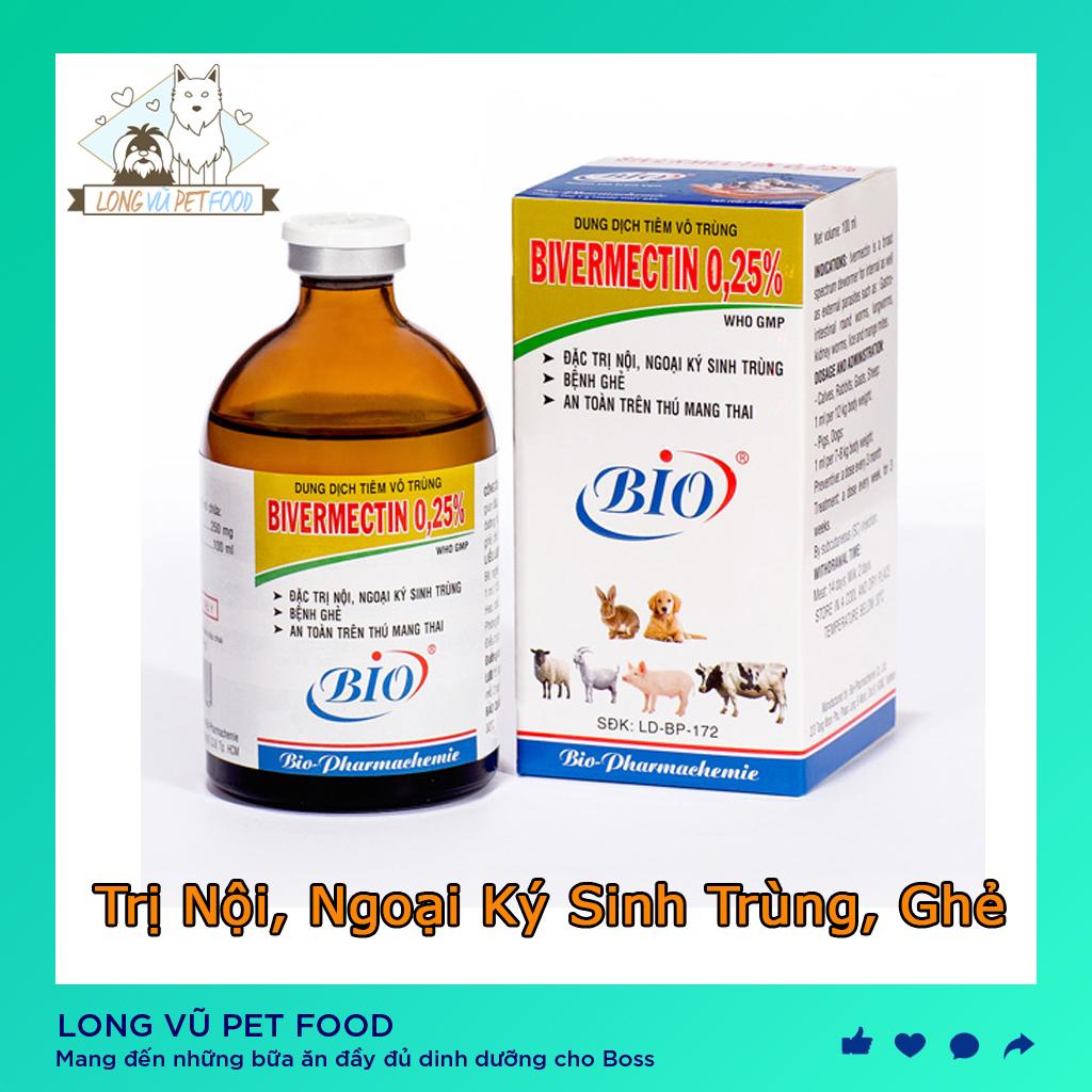 Dung dịch tiêm ngừa ghẻ vô trùng BIVERMECTIN 0,25% 100ml- Long Vũ Pet Food