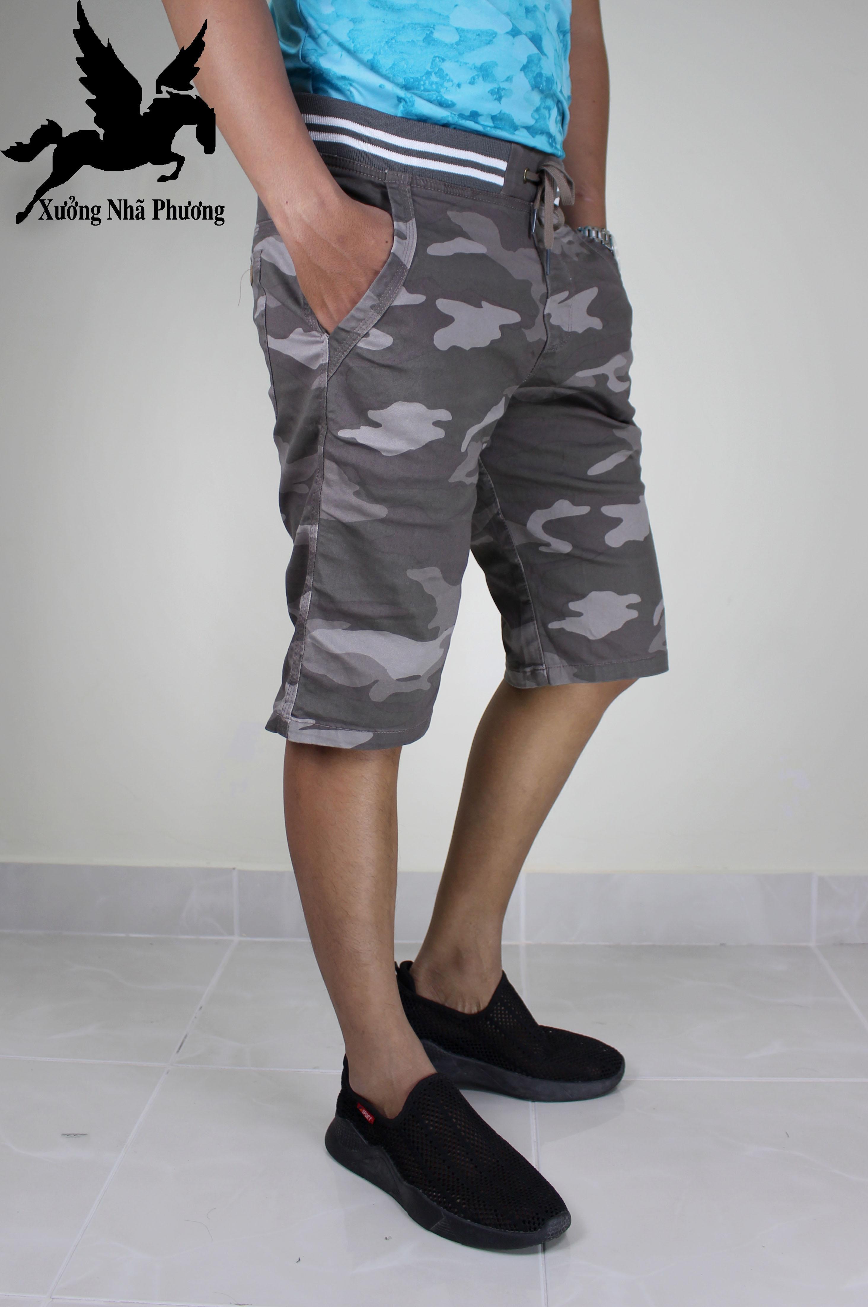 (Nhã Phương ) Quần Short Kaki Nam Lưng Thun Co Giản Màu Rèn Ri Đặc Công Xám Siêu Hiếm Số Lượng Chỉ 50 Cái Size 50-75kg