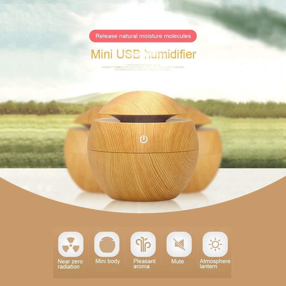 Máy xông tinh dầu  phun sương khuếch tán tinh dầu trái dừa Vân Gỗ -  Humidifier