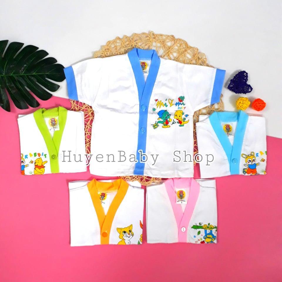 Bộ 5 áo sơ sinh tay ngắn màu trắng Hello Baby cho bé từ 3-11,3kg
