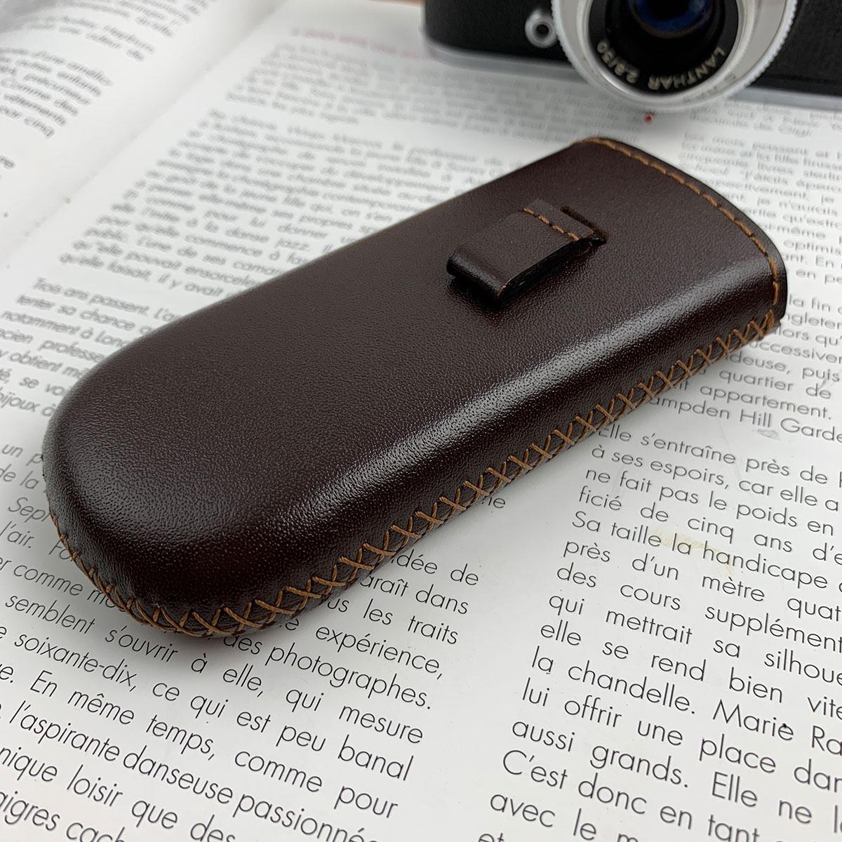 Bao da 6700 - chất liệu da bò thật - màu nâu - handmade MC225