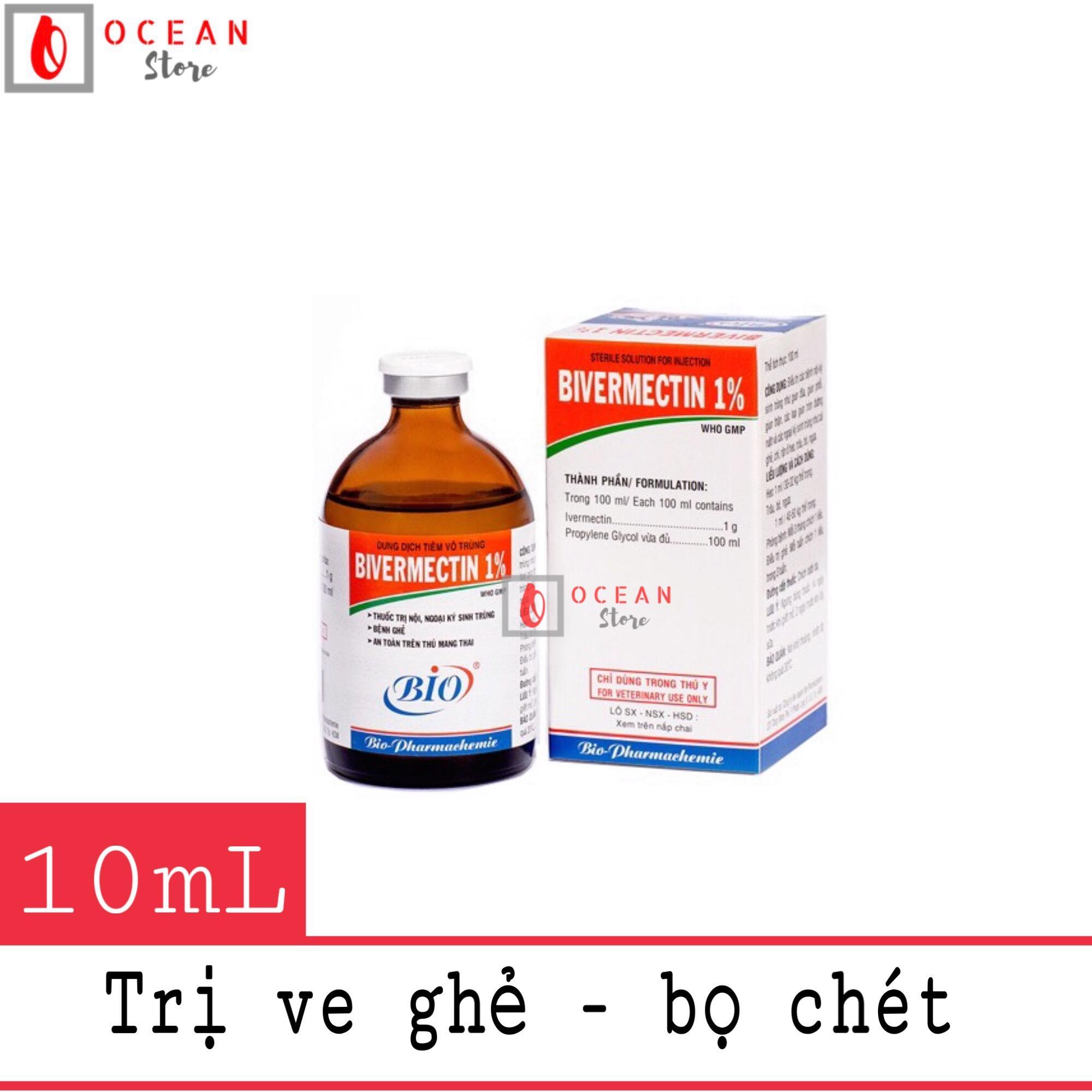 Thuốc tiêm trị ve ghẻ, bọ chét cho chó mèo - Bio Bivermectin 1% (10ml)