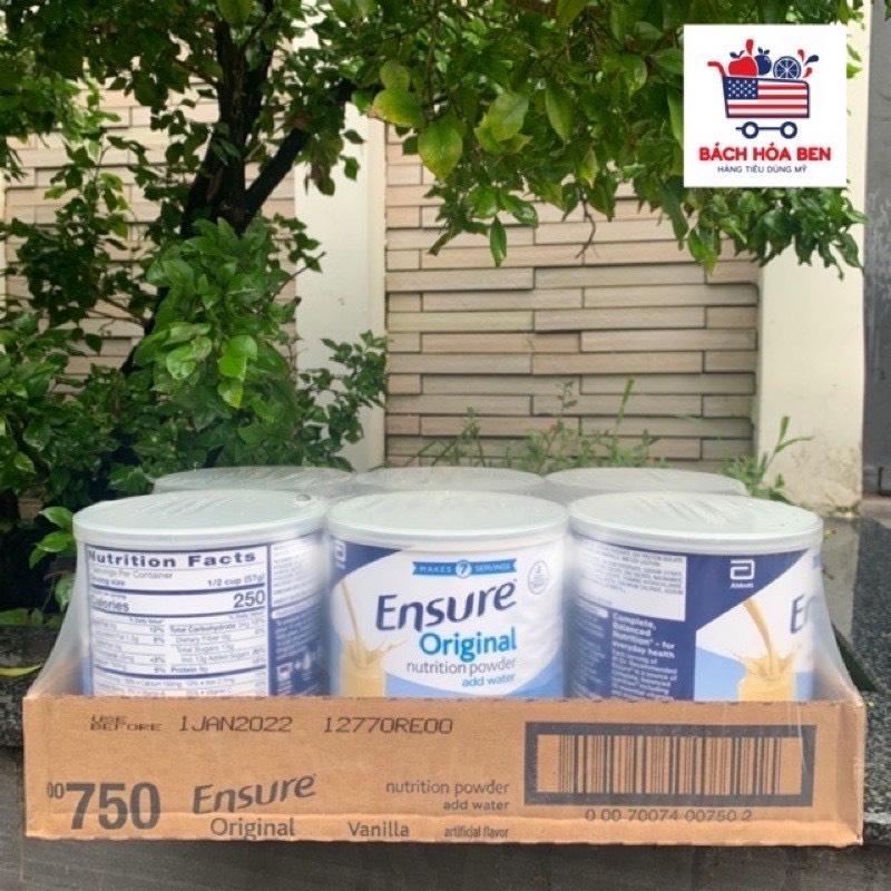 Lốc 6 lon Sữa ENSURE ORIGINAL VANILLA MỸ 397g - Date 2023