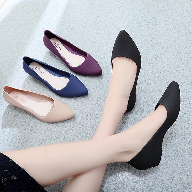 Giày nhựa đi mưa nữ 3p, giày búp bê giày công sở có khả năng chịu nước, chống trơn trượt size 36 đến 40 mẫu V158