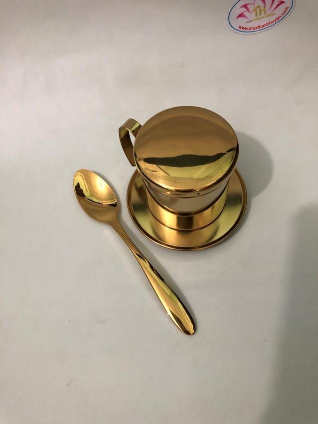 Bộ phin cafe inox 304 và muỗng cà phê vàng ánh kim cao cấp và bóng đẹp sang trọng an toàn vệ sinh - inox Thanh Huyền Hcm