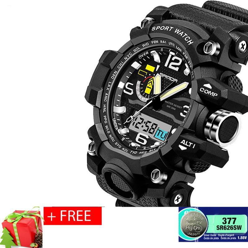 Đồng hồ thể thao nam chống nước SANDA, dây silicone S2 + Tặng pin đồng hồ dự phòng