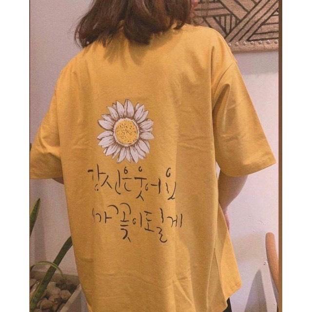 Hình ảnh Áo Thun Nam Nữ Form Rộng Hàn Quốc In BÔNG CÚC CHỮ HÀN Vải Dày Mịn Thoáng Mát, Thiết Kế Thời Trang, Kiểu Dáng Năng Động Trẻ Trung