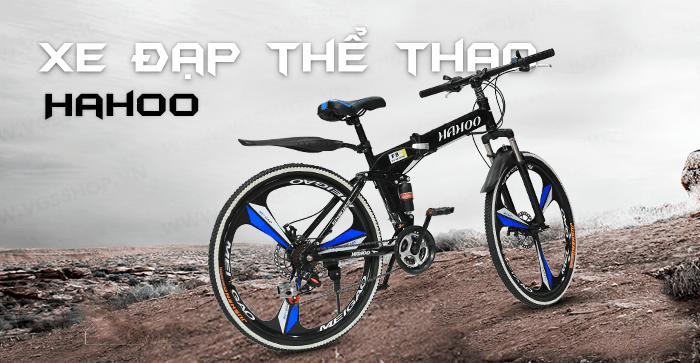 Xe đạp thể thao địa hình gấp gọn HaHoo [Bảo hành 12 tháng] (3 màu đen vàng  cam)(Có bánh mâm) | Lazada.vn