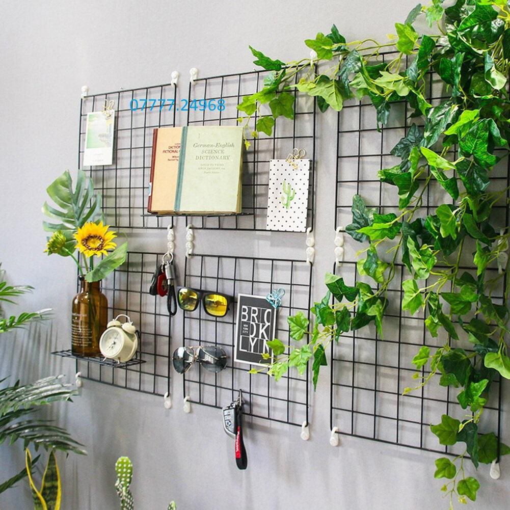 Bộ 6 khung hình lưới sắt nghệ thuật 35*35 cm tặng móc dán tường treo khung tranh