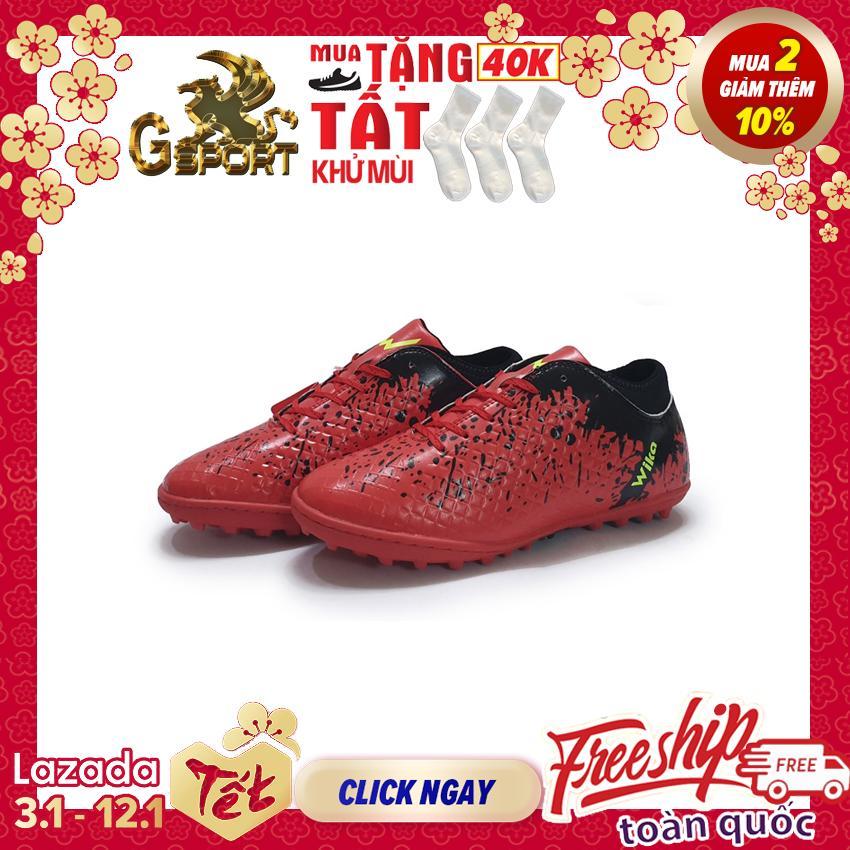 [DEAL HOT CUỐI NĂM] giày đá banh giày đá bóng giày thể thao dành cho nam đá sân cỏ nhân tạo nhãn hiệu Wika màu đỏ cổ đen họa tiết nghệ thuật loang lổ mitre, động lực gsport, gsports, g sport, g sports
