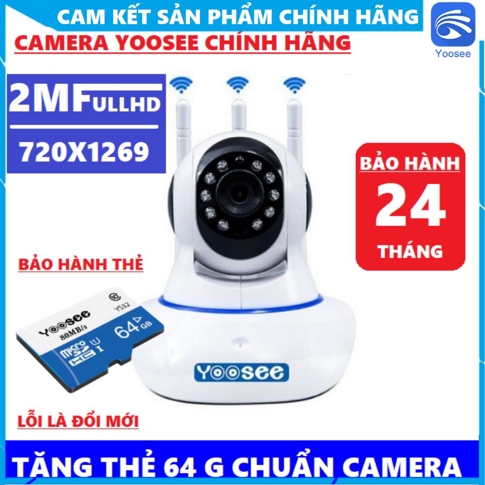 Hình ảnh [BẢO HÀNH 2NĂM] [KÈM THẺ 64GB-32GB TÙY CHỌN MÃ] Camera Yoosee 3 Râu - Camera Wifi 2.0 Mpx 1080 Pixel - Cổng Lan -Xoay 360° - Đàm Thoại 2 Chiều - Báo Động Có Còi - Theo Dõi Chuyển Động [CHÍNH HÃNG]