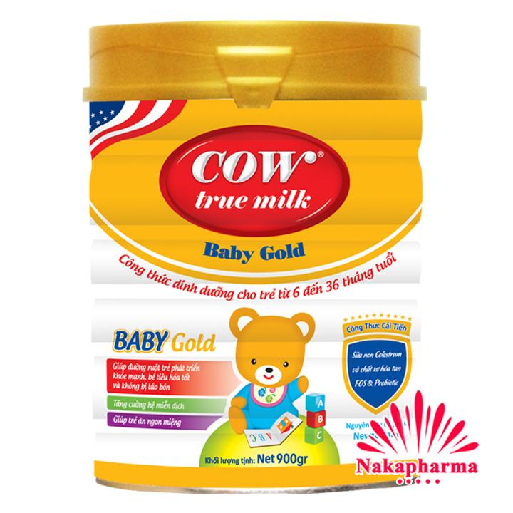 Hình ảnh Sữa bột Cow True Milk Baby Gold 900g [6-36 tháng] – Tăng cường miễn dịch, đường ruột khỏe mạnh, tiêu hóa tốt, không táo bón