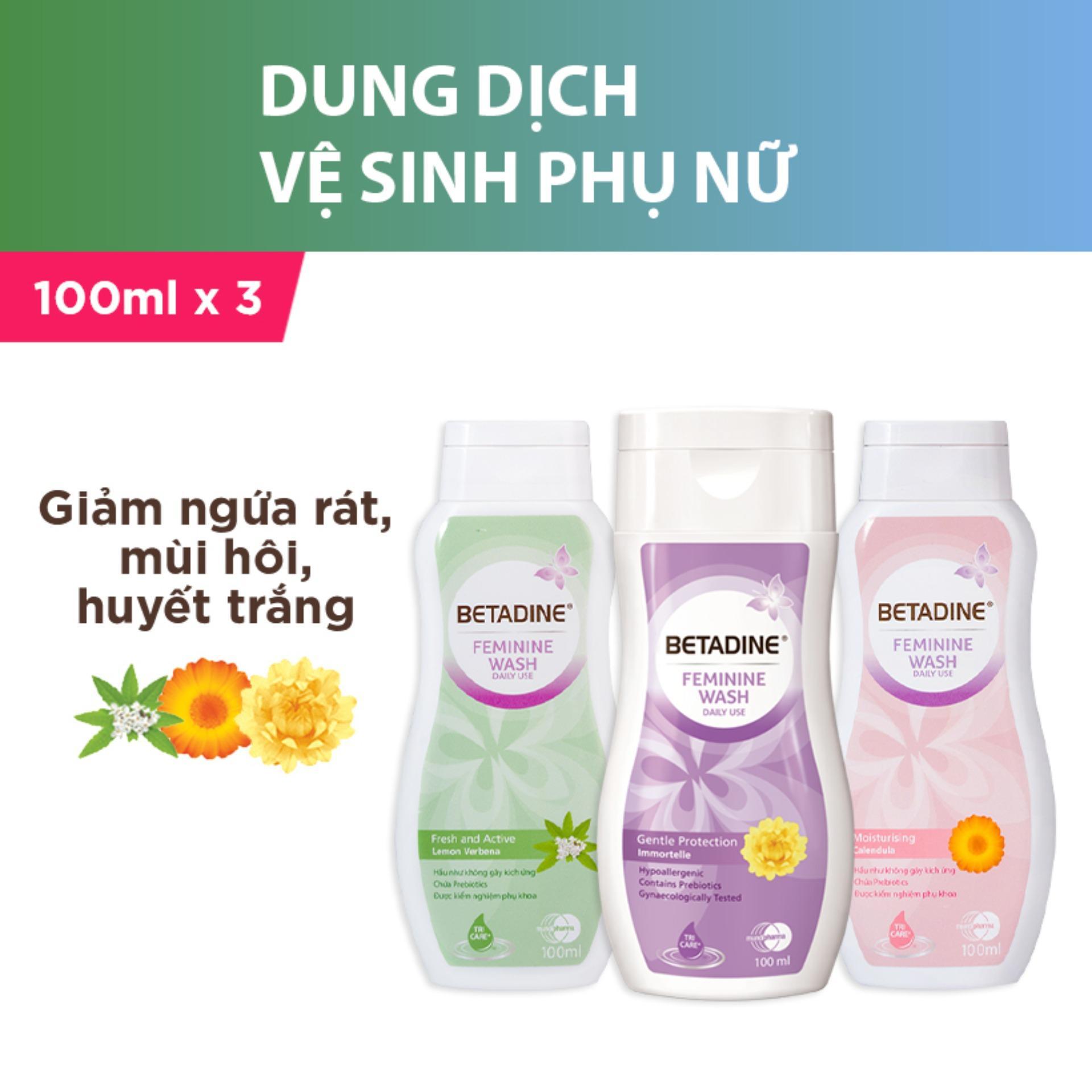 Bộ 3 dung dịch vệ sinh phụ nữ Betadine (Tím, Hồng, Xanh) - chai 100ml