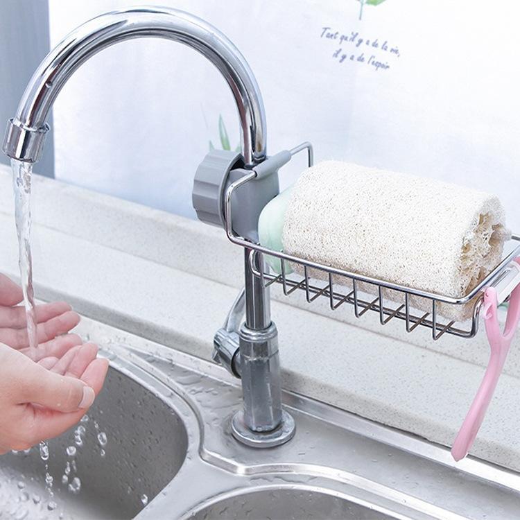 Hình ảnh Giá kệ inox gắn vòi sen, Giỏ gắn với vòi nước bằng inox để đồ rửa chén, nước rửa bát, xà bông rửa tay,... có thể điều chỉnh khóa, lỗ thông thoáng, róc nước