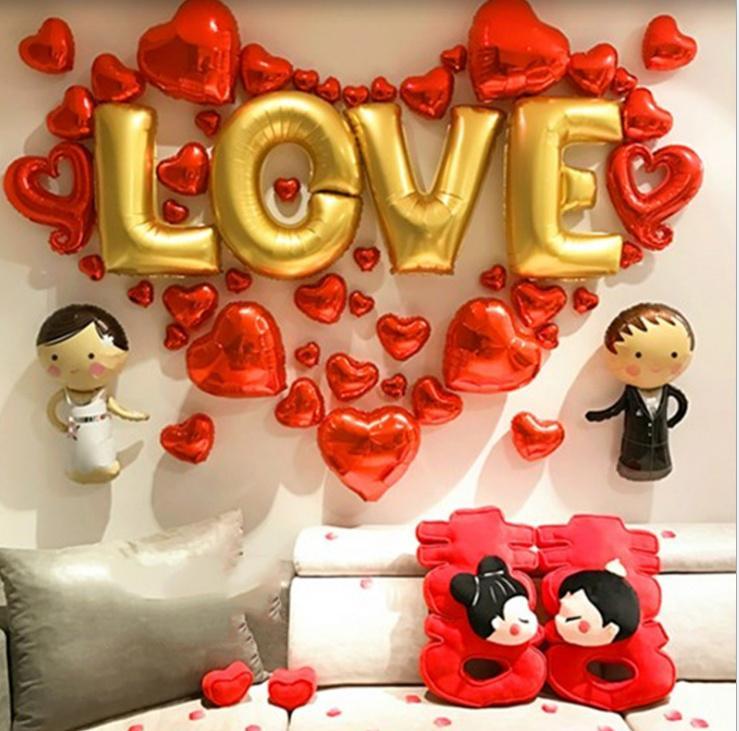 Bộ trang trí phòng cưới tân hôn cô dâu, chú rể chữ love - Phụ kiện trang trí tiệc cưới, sinh nhật - Đồ trang trí phòng cưới - Bong bóng trang trí đám cưới - Chữ trang trí lễ tình yêu - Sét trang trí lễ tình nhân - Happy wedding - Valentine