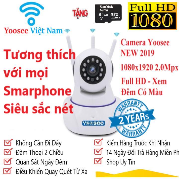 Camera Ip YOOSEE 3 Râu Full HD 2.0Mpx - Camera giám sát tích hợp lưu trữ xem lại video - đàm thoại 2 chiều Tặng kèm thẻ nhớ chuẩn 64gb - NEW