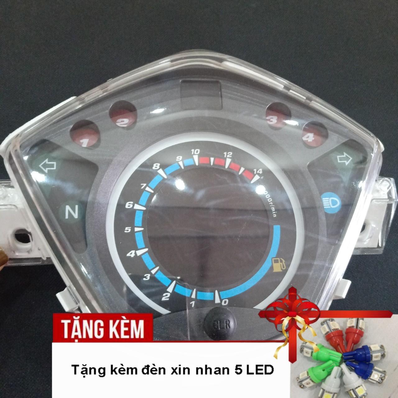 [RING QUÀ RING QUÀ ]Đồng hồ điện tử LCD xe Wave RSX, Wave 110 với led 7 màu siêu nét A284 - Tặng kèm đèn xinhan 5 led