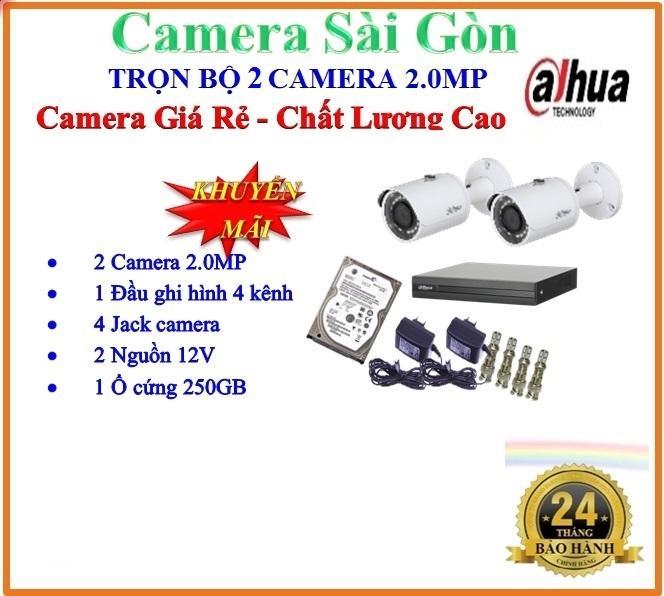 Hình ảnh Trọn bộ 1 đầu ghi hình Camera 4 KÊNH 5 trong 1 FULL HD 1080P huyền thoại DAHUA DHI-XVR1A04 + 2 Camera thân FULL HD 1080P DAHUA DH-HAC-HFW1200SP + 1 ổ cứng 250GB + 2 Nguồn12V + 4 Rắc BNC + 1 dây HDMI