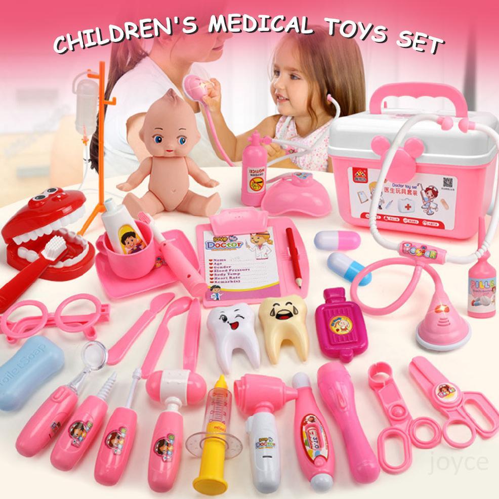 Hình ảnh Kids Doctor Kit 31 Pieces Giả vờ Bộ dụng cụ y tế nha sĩ với ống nghe điện tử và áo khoác cho trẻ em Quà tặng kỳ nghỉ, Lớp học ở trường và Trang phục bác sĩ Roleplay Dress-UpZD8jGyFf