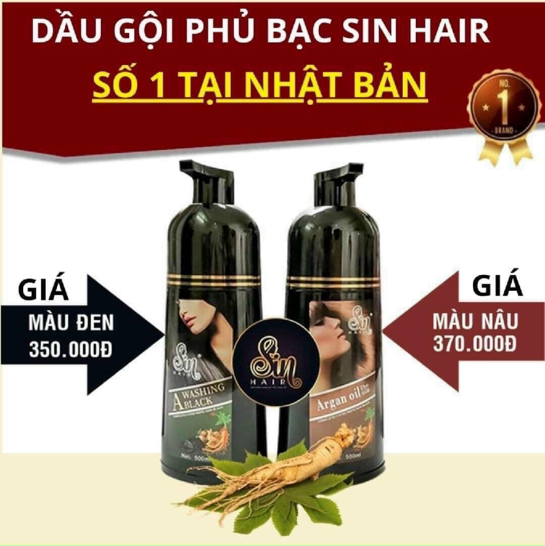 Dầu gội Phủ Bạc Nhân Sâm Sin Hair - Dầu Gội Phủ Bạc SIN HAIR Nhật Bản 500ml - Hàng Chính Hãng - Dầu Gội Nhuộm