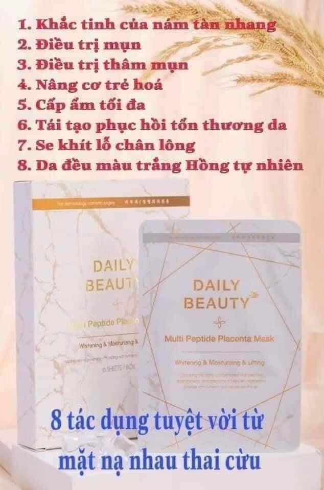 [Chính hãng] Hộp 6 miếng mặt nạ nhau thai cừu Hàn Quốc - Daily Beaty [MULTI PEPTIDE PLACENTA MASK] 6 Miếng