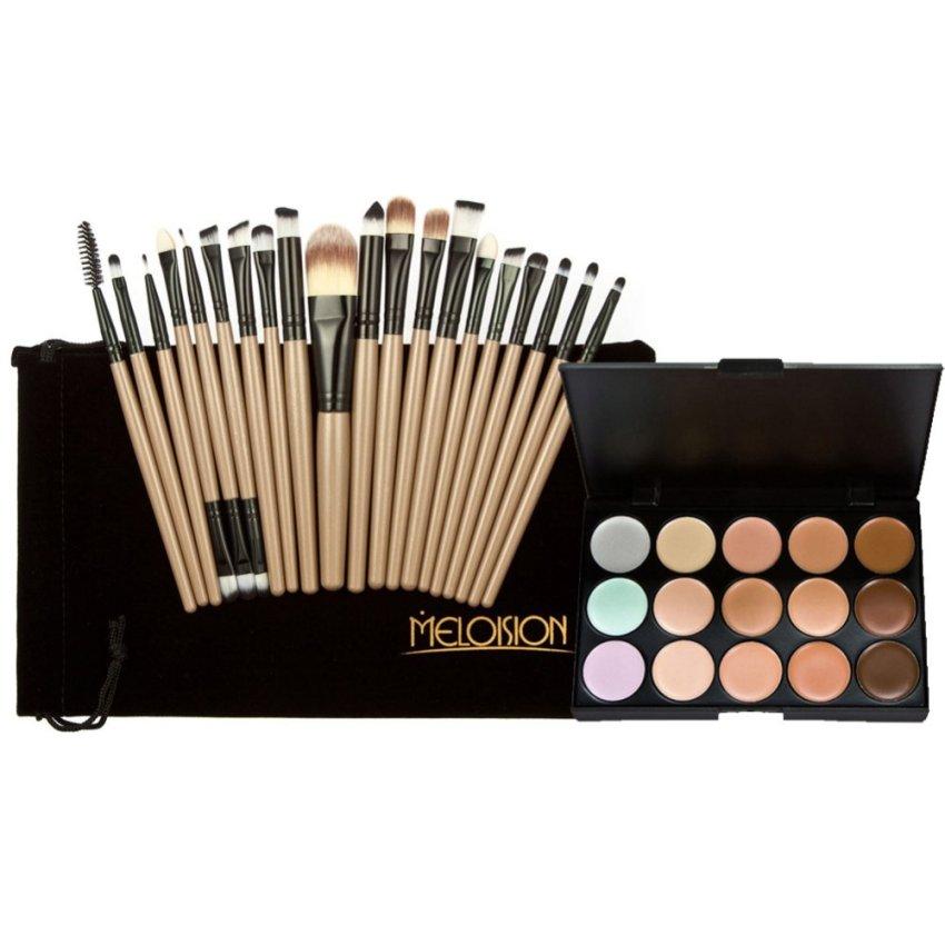 15 Colors Contour Face Cream Makeup Concealer Palette+20Pcs Brushes brown - intl