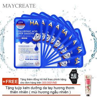 Bộ 10 Mặt nạ HA MayCreate – Hyaluronic Acid Super Smooth Mask + Tặng tuýp kem dưỡng da tay hương thơm thiên nhiên ( mùi hương ngẫu nhiên )