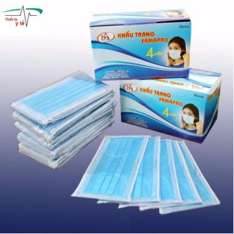 Bộ 2 hộp khẩu trang y tế kháng khuẩn 4 lớp lọc (Xanh)