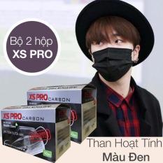 Bộ 2 Hộp khẩu trang y tế than hoạt tính 4 lớp XS Pro Hộp 50 chiếc (Đen)