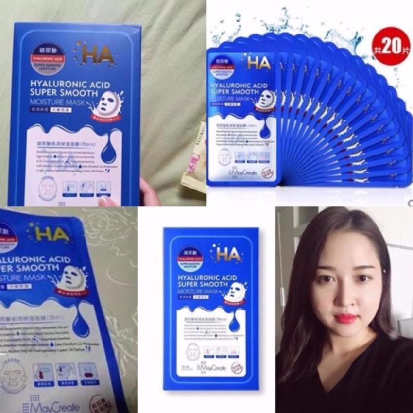 Bộ 20 mặt nạ HA cao cấp ( gồm 10 HA xanh cấp ẩm + 10 HA tím dưỡng da)...