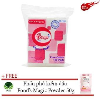 B��ng t���y trang Bonus 80 mi���ng vu��ng + T���ng Ph���n ph��� ki���m d���u Pond's Magic 50g