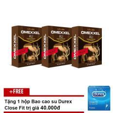 Giá Khuyến Mại Combo 3 hộp Viên Uống Tăng Cường Sinh Lý Nam Omexxel Ali (10 viên/hộp) + Tặng Bao cao su Durex Close Fit