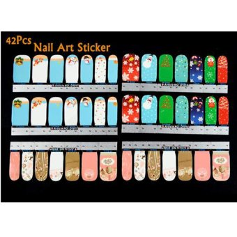 Cyber 42Pcs Christmas Nail Art Sticker Full Wrap Patch Decal ForFingers Natural/False Nails - intl