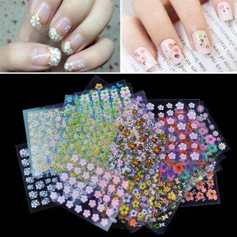 Cyber 50 Sheet Mix Color Floral Design 3D Nail Art Stickers DecalsNail Art Decoration ( Multicolor ) - intl