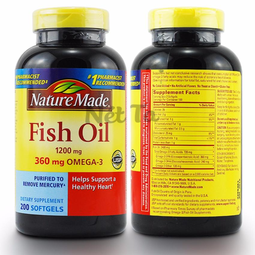 D u c 1200mg nature made fish oil h p 200 vi n cung c p for Nature made fish oil 1200 mg 360 mg omega 3