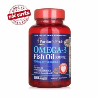 Dầu cá bổ sung EPA DHA bổ mắt, não, tim mạch, tăng cường hệ miễn dịch Puritan's Pride Omega-3 Fish Oil 1000mg Omega 3