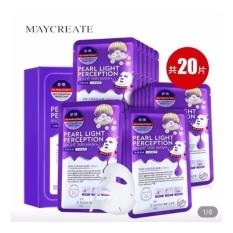 Hộp 20 miếng mặt nạ dưỡng trắng, làm mờ vết thâm Maycreate Pearl Light Perception Light Mask 23ml x 20