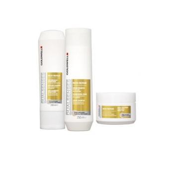 Bộ 3 Dầu gội, xả và hấp dành cho tóc khô hư tổn Goldwell Rich Repair