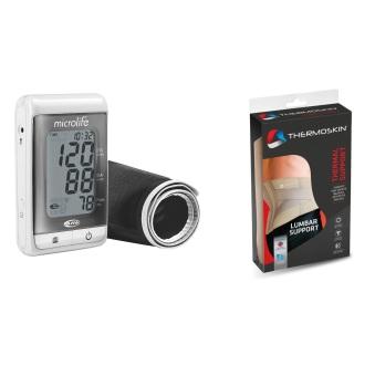 Bộ Máy đo huyết áp bắp tay Microlife A200 (Trắng phối xám) và Băng nẹp lưng mềm Thermoskin 8-227 (Ghi)