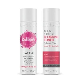 Bộ dưỡng trắng đẹp da ngừa dị ứng Toner - nước cân bằng mịn da và Collagen trắng da 120ml LANGCE