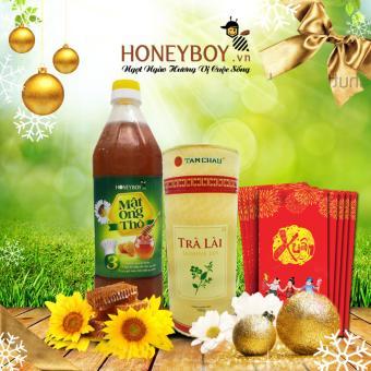 Mật ong Thô Honeyboy 1000ml và Hộp trà Lài Tâm Châu 100g (Hộp giấy)