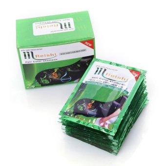 Hộp 10 gói Gội Là Đen Thảo Dược Mreishi có bao tay kèm trong hộp(Đen)