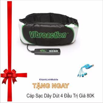 Đai massage thon gọn bụng Vibroaction (Đen)+ Tặng Cáp Sạc 4 Đầu